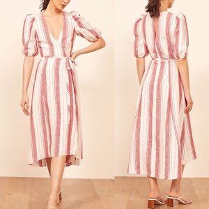 REFORMATION Waves Linen Striped Dress